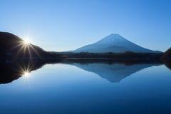 Mountain Fuji and Lake Shoji. In morning Stock Photography