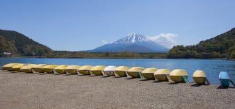 Mountain Fuji and Lake Shoji. In spring season Royalty Free Stock Photos