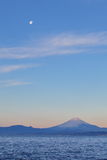 Mountain Fuji and moon Stock Photo