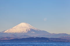 Mountain Fuji and moon Stock Images