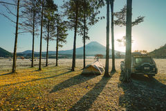 Mountain Fuji in the morning at Fumotopara camping ground with s Stock Photography