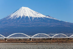 Mountain Fuji and railway in winter season Royalty Free Stock Images