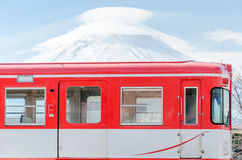 Mountain Fuji and red train Royalty Free Stock Photos
