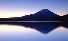 Mountain Fuji and reflection at lake Motsu Stock Image