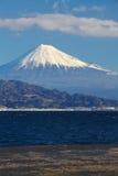 Mountain Fuji and sea. At Miho no Matsubara , Shizuoka royalty free stock image