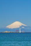 Mountain fuji and sea ocean. From yokosuka royalty free stock photo