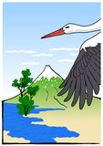 Mountain Fuji with stork, vector illustration Stock Photos