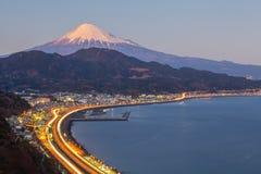 Mountain Fuji. Tomai expressway and Suruga bay with mountain fuji at Shizuoka Royalty Free Stock Images
