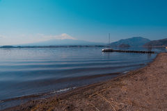Mountain Fuji view from the lake,The symbol of Japan. Royalty Free Stock Photo