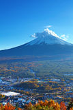 Mountain Fuji and village Stock Photos
