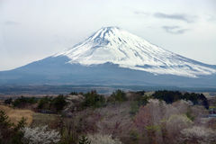 Mountain Fuji in winter close up, natural landscape Stock Images