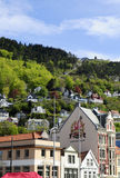 Mountain Funicular, Bergen Historical Buildings, Norway stock image