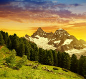 Mountain Gabelhorn at sunset in Pennine alps, Switzerland. Beautiful landscape with views of the mountain Gabelhorn at sunset in Pennine alps, Switzerland stock photo