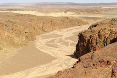 Mountain gap and dried river in the volcano Stock Photo