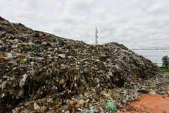 Mountain garbage It comes from urban and industrial areas in underdeveloped countries. Waste is difficult to decompose by natural means. And so much that it is stock image