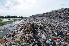 Mountain garbage It comes from urban and industrial areas in underdeveloped countries. Waste is difficult to decompose by natural means. And so much that it is royalty free stock image