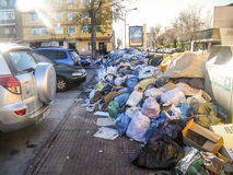 Mountain of garbage. Parla, Madrid, Sapin. January 10, 2015. Due to a strike by workers in the cleaning that lasts more than a month, Parla accumulate many tons stock photo