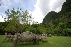 Mountain and garden. This garden and mountain are in south of thailand.wood benches are in this garden Stock Photos