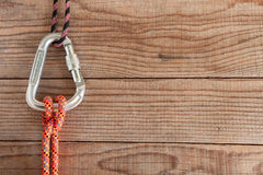 Mountain gear for climbing: Clove Hitch knot Stock Photo