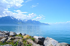Mountain and Geneva lake Royalty Free Stock Photo