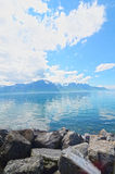 Mountain and Geneva lake Royalty Free Stock Photography