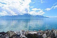 Mountain and Geneva lake Stock Image
