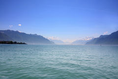 Mountain and Geneva lake, Switzerland Stock Photo