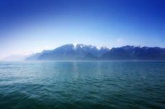 Mountain and Geneva lake, Switzerland stock images