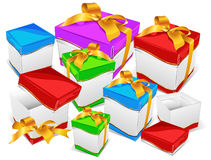 Mountain of gift boxes Stock Images