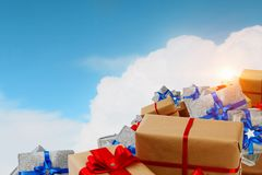 Mountain of gift boxes. Mixed media. Big pile of Christmas gifts as symbol for coming holiday. Mixed media Royalty Free Stock Photo