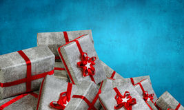 Mountain of gift boxes. Mixed media. Big pile of Christmas gifts as symbol for coming holiday. Mixed media Royalty Free Stock Photos