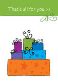 Mountain Gifts. Greeting card - a great mountain of gifts royalty free illustration
