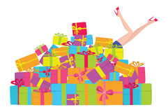 Mountain gifts. The figure shows a mountain of gifts Royalty Free Stock Photography