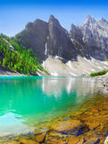 Mountain Glacial Lake. Canadian Rocky Mountains. Banff National Park royalty free stock photography