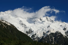 Mountain glacier. Mountain peak and glacier in New Zealand mt cook range Royalty Free Stock Photos
