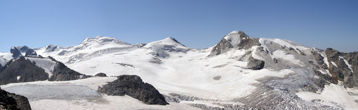 Mountain glacier. Panorama Caucasus Mountains. Mountain glacier Royalty Free Stock Image