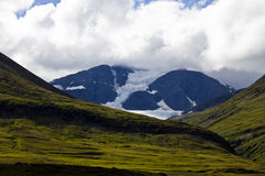 Mountain glacier and green fields Royalty Free Stock Image