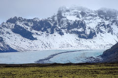 Mountain and Glacier in Iceland in the daytime.  Stock Images