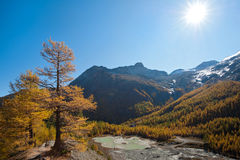 Mountain glacier lake above Saas Fee, Switzerland Royalty Free Stock Image