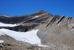 Mountain with glacier and moraine. Stock Photography