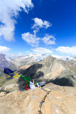 Mountain glacier panorama with summit Grossvenediger south face and Prayer flag, Hohe Tauern Alps, Austria Stock Image
