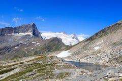 Mountain glacier panorama view with lake, summit Grossvenediger and Kristallwand, Hohe Tauern Alps, Austria Royalty Free Stock Photos