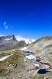 Mountain glacier panorama view with lake, summit Grossvenediger and Kristallwand, Hohe Tauern Alps, Austria Stock Image