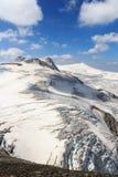 Mountain glacier panorama view with summits Rainerhorn, Grossvenediger, Schwarze Wand and Kleinvenediger, Hohe Tauern Alps, Aust Stock Image