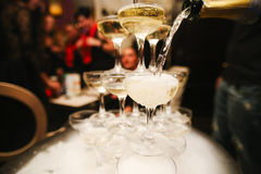 Mountain glasses of champagne Stock Photography