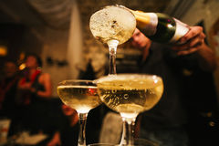 Mountain glasses of champagne Royalty Free Stock Photo