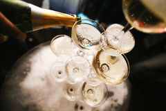 Mountain glasses of champagne Royalty Free Stock Image