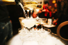 Mountain glasses of champagne. A bottle of stream royalty free stock photo