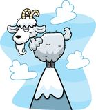 Mountain Goat. A cartoon goat on a mountain Stock Photography
