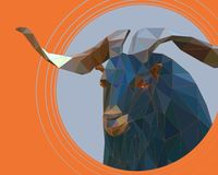 A mountain goat with large twisted horns royalty free illustration